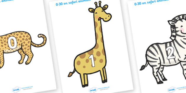 Numbers 0-30 on Safari Animals - Safari Animals, Safari, Foundation Numeracy, Number recognition, Number flashcards, 0-30, A4 display, lion, cheetah, puma, jaguar, rhino, hippo, elephant