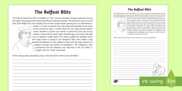 Belfast Blitz - Sheila the Elephant Writing Activity Sheet - World Around Us KS2, history, ww2, world war 2, northern ireland world war 2, the blitz