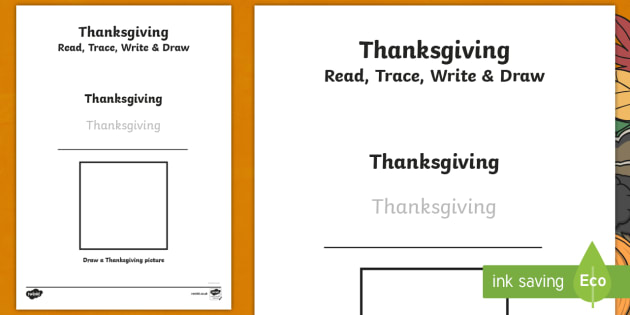 thanksgiving read trace write and draw worksheet activity sheet thanksgiving worksheet