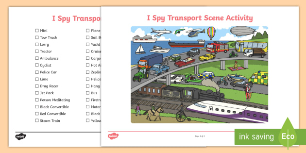 Transport I Spy Scene Activity - transport scene, I spy, activity