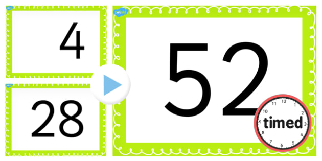 Counting On and Back in 4s up to 52 PowerPoint - counting, 4