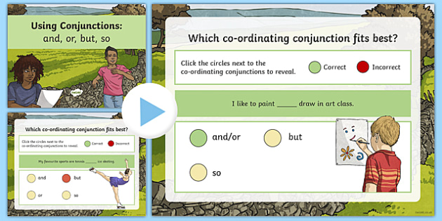 Coordinating Conjunctions and or but so Grammar - Connectives