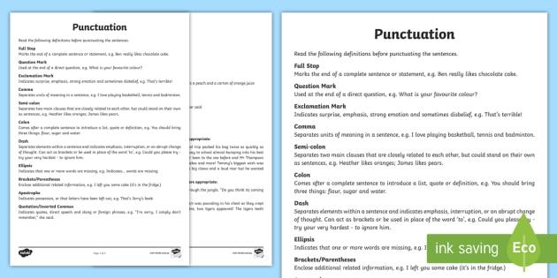 punctuation worksheet activity sheets punctuation grammar. Black Bedroom Furniture Sets. Home Design Ideas