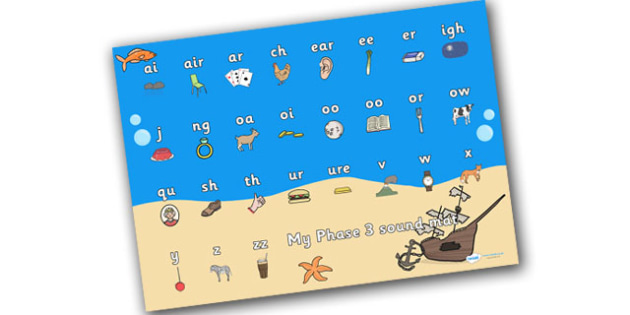 Under The Sea Themed Sound Mat Phase 3 - phonics, reading, write