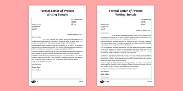 Formal Letter of Protest Writing Sample