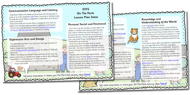On The Farm Lesson Plan Ideas EYFS - farm, lesson ideas, plans