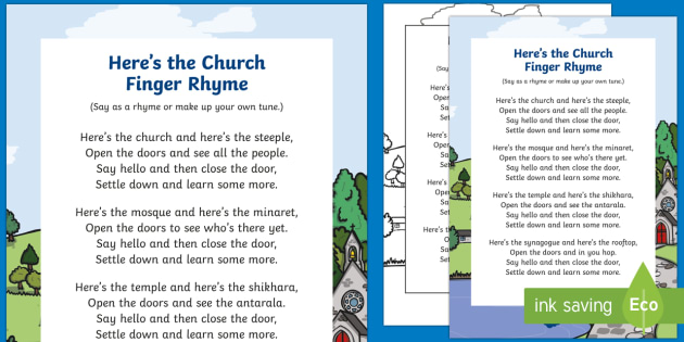 Here's the Church Finger Rhyme - EYFS, Early Concept, finger