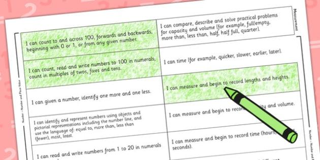 2014 Curriculum Year 1 Maths Target Colouring Sheet - numeracy