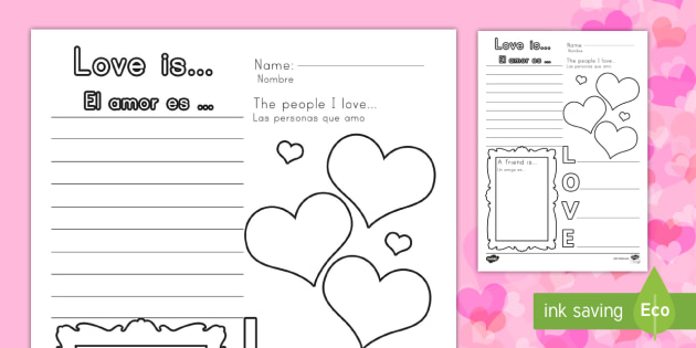 Valentine's Day Worksheet / Worksheet English/Spanish ...