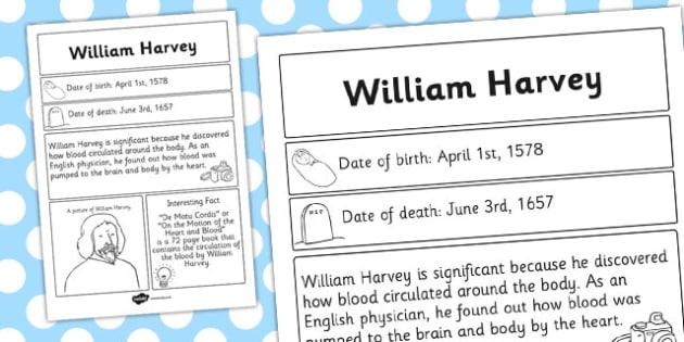 William Harvey Significant Individual Fact Sheet - fact, sheet