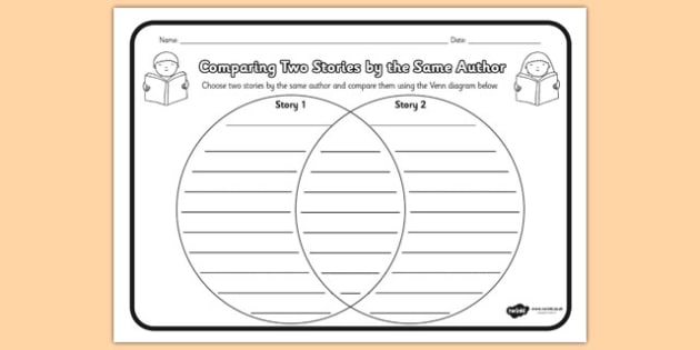 T L  paring Two Stories By The Same Author Worksheet on venn diagram worksheets ks2