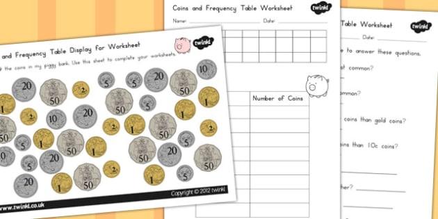 Coins in Piggy Bank Worksheets - australia, coins, piggy, bank
