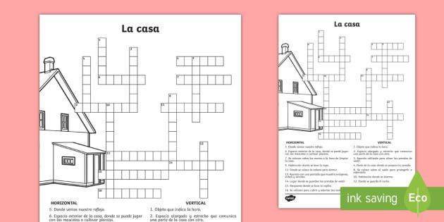 Spanish Crossword: Around the House - Crossword, crosswords