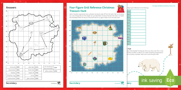 four figure grid reference christmas treasure hunt worksheet activity sheet maps plotting