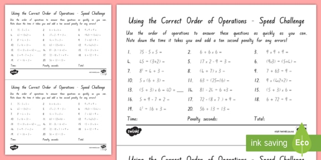 BEDMAS Order of Operations Speed Challenge Test - maths