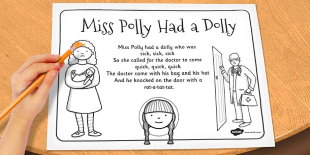 Miss Polly Had a Dolly Colouring In Sheet - colour, worksheet
