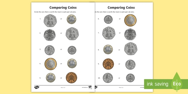 comparing coins worksheet activity sheets currency. Black Bedroom Furniture Sets. Home Design Ideas