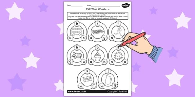 CVC Word Wheel Worksheets u - CVC words, word wheel, visual aid
