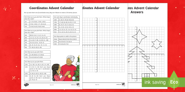 UKS2 Advent Calendar Coordinates Worksheet / Activity Sheet - advent calendar, coordinates, christmas co-ordinates, coordinates, worksheet, position and direction