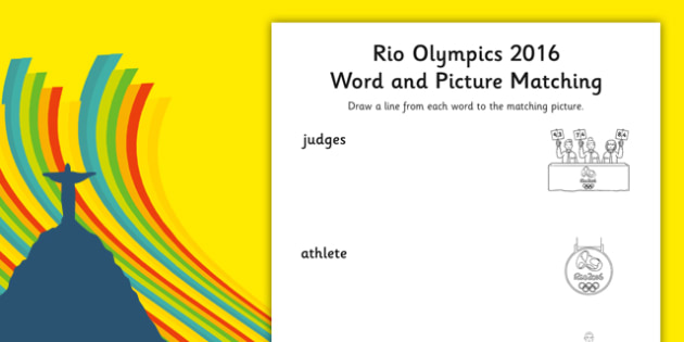 Rio Olympics 2016 Word and Picture Matching Worksheet - rio 2016, rio olympics, rio olympics 2016, 2016 olympics, word, picture, matching, worksheet