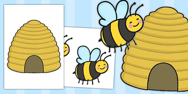 Bee and Beehive Cut Outs - bee, beehive, cut outs, cut, outs
