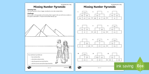 missing number pyramids worksheet  worksheet  maths pyramids missing missing number pyramids worksheet  worksheet  maths pyramids missing number  pyramids problem solving