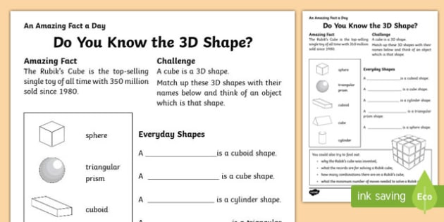 Do you Know the 3D Shape? Activity Sheet, worksheet
