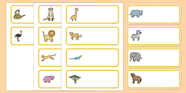 Editable Drawer - Peg - Name Labels (Safari) - Safari animal themed Label Templates, safari, animal, Resource Labels, Name Labels, Editable Labels, Drawer Labels, Coat Peg Labels, Peg Label, KS1 Labels, Foundation Labels, Foundation Stage Labels,