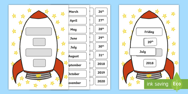 Calendar Ideas Key Stage : Space rocket themed date display sign key stage one ks