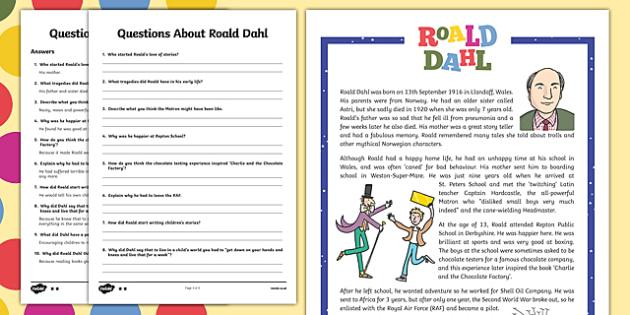 UKS2 Roald Dahl Differentiated Reading Comprehension Activity