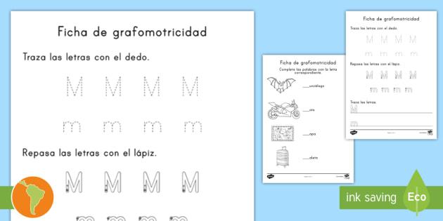 Ficha de actividad: La letra M - letra m, trazar letras, trazar
