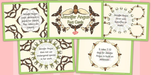 Jennifer Angus Fact Cards - jennifer, angus, fact cards, facts