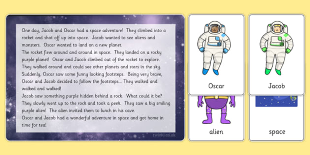 Space Themed Listening Story Activity - planets, stories, books