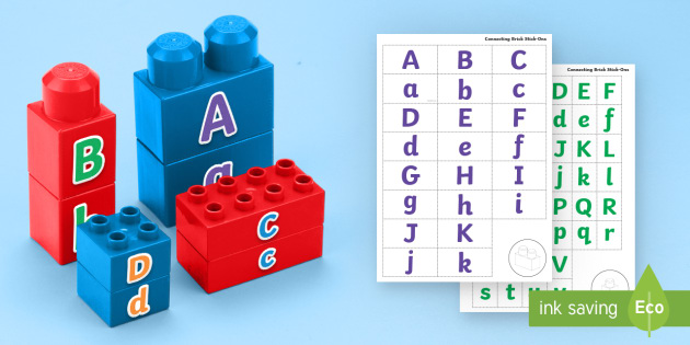 Upper And Lower Case Letters Matching Connecting Bricks Game Eyfs