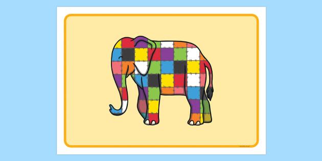Playdough Mat to Support Teaching on Elmer - Elmer, Elmer the elephant, resources, mat, activity, playdough, Elmer story, patchwork elephant, PSHE, PSE, David McKee, story, story book, story book resources, story sequencing, story resources