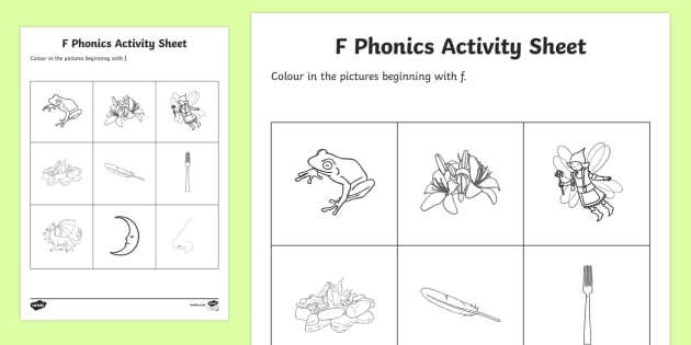 f Phonics Colouring Worksheet / Activity Sheet - Republic of Ireland, Phonics Resources, sounding out, initial sounds, phonics assessment, colouring,
