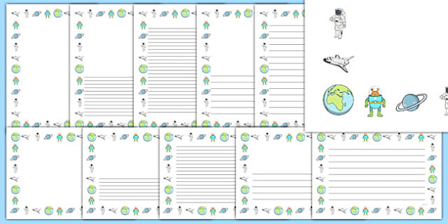 Space Themed Page Borders (Images) - Page border, a4 border, template, space, ship, space banner, rocket, aliens, launch, foundation stage, topic, moon, stars, planet, planets