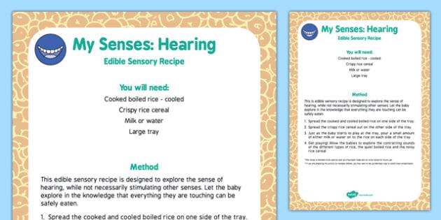 My Senses Hearing Edible Sensory Recipe