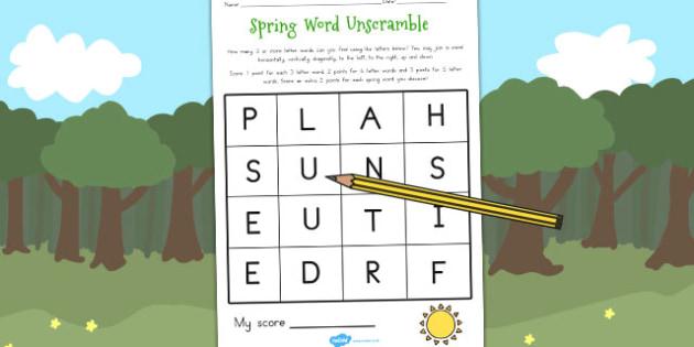 Spring Word Unscramble - seasons, weather, literacy, games