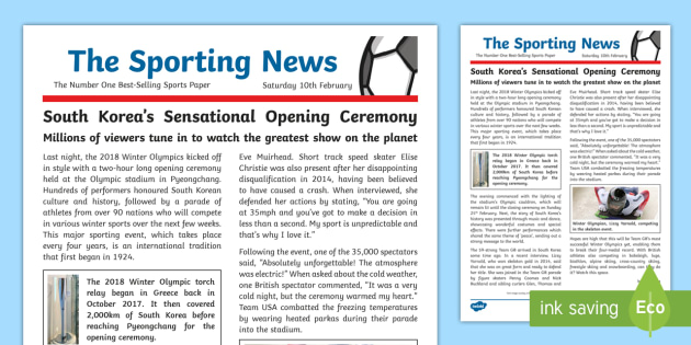 ks2 winter olympics 2018 wagoll example newspaper report non fiction writing pyeongchang 2018