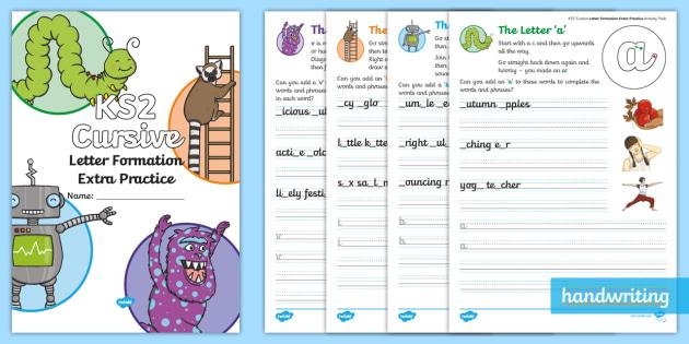 ks2 cursive letter formation extra practice activity booklet cursive. Black Bedroom Furniture Sets. Home Design Ideas