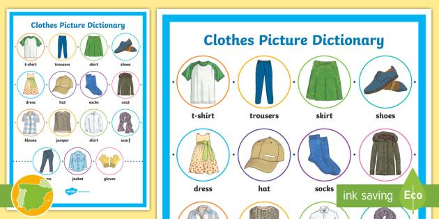 A1 Diccionario De Imágenes Ropa Inglés Clothes English