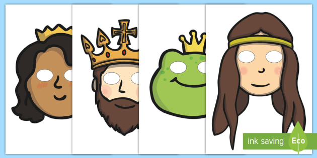 The Frog Prince Story Role Play Masks - Frog, princess, prince, evil fairy,role play mask, role play, masks,  splash, kiss, well, king, bed, sleep, golden ball, beautiful, fell, plate, palace, traditional tale, story, book, story resources