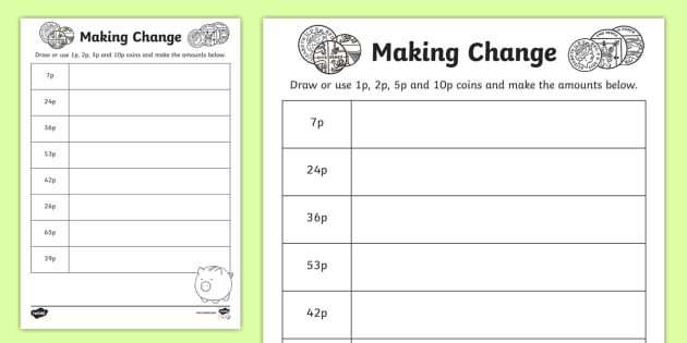 Making Change 1p 2p 5p And 10p Coins Worksheet Activity