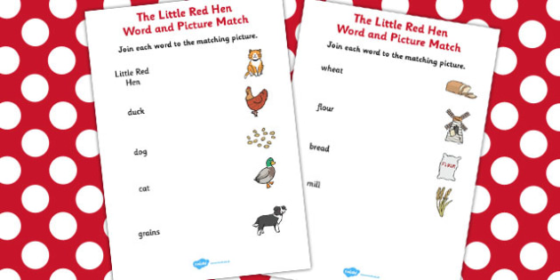 The Little Red Hen Word and Picture Match - little red hen, match