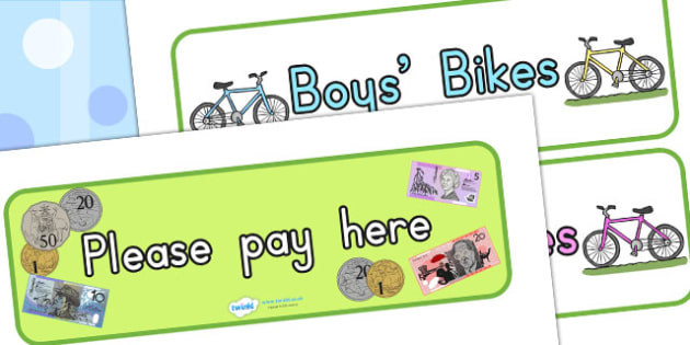 Bicycle Shop Display Signs - bicycle, bike, cycle, role play