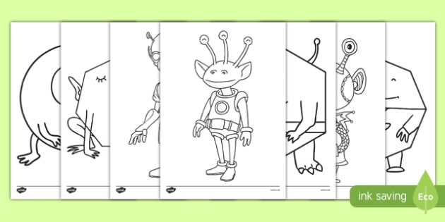 Aliens Colouring Pages