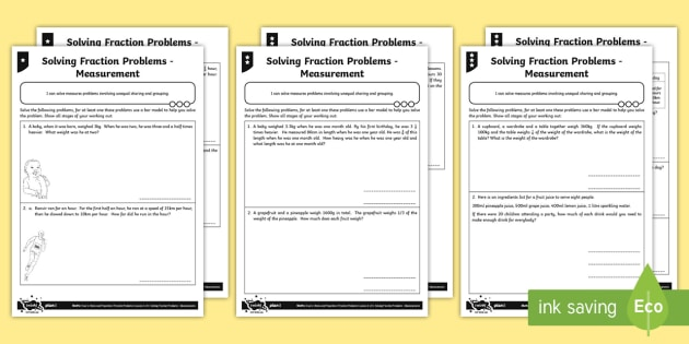 Solving Fraction Problems Measurement Differentiated Worksheet