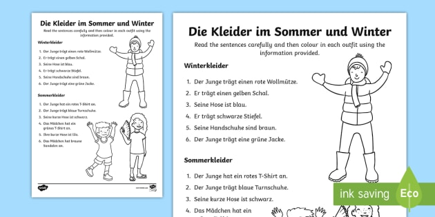 clothes and colours read and draw worksheet worksheet german clothes ks2. Black Bedroom Furniture Sets. Home Design Ideas