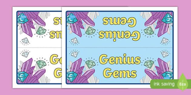 Genius Gems Group Table Sign - genius gems, group table sign, group, table, sign, display